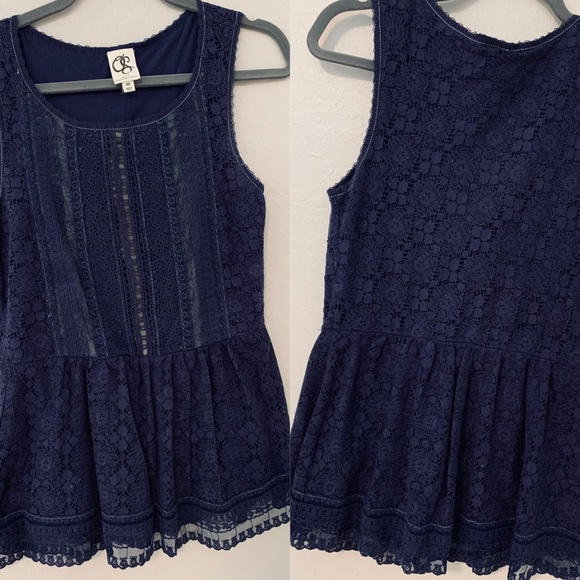one September Tops - one September midnight blue lace top Anthro
